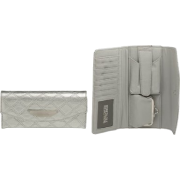KENNETH COLE REACTION Metallic Tri-Fold Quilt Patent Wallet, Silver - Wallets - $18.99