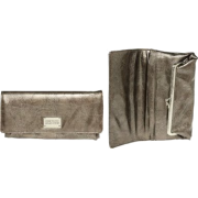 KENNETH COLE REACTION Patent Crinkled Fold-Over Clutch [187829/899], Pewter - Wallets - $15.00