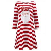 KILIG Women's Long Sleeve Christmas Santa Dress Stripe Casual Dress - Vestidos - $35.99  ~ 30.91€