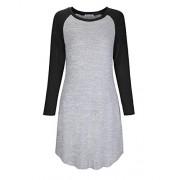 KILIG Women's Round Neck Long Sleeve Casual A-Line Dress Tshirt Dress - Vestidos - $28.99  ~ 24.90€