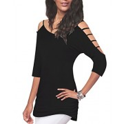 KILIG Women's Shoulder Hollow Out Half Sleeve Casual Blouses Tops Tunic - Shirts - $23.99