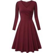 KILIG Women's V Neck Long Sleeve Elegant Vintage Casual Midi Dress - Haljine - $37.99  ~ 32.63€