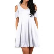 KILIG Women's V Neck Short Sleeve Off Shoulder Casual Swing Dress with Pockets - Vestidos - $22.99  ~ 19.75€