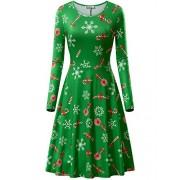 KIRA Womens Christmas Dress Long Sleeve Casual Aline Party Dress - Dresses - $18.88