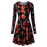 KIRA Women's Christmas Dress Xmas Gifts Print Flared Swing A Line Dress - Dresses - $12.99