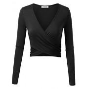 KIRA Women's Deep V Neck Long Sleeve Floral Unique Slim Fit Coss Wrap Crop Tops - Shirts - $14.99