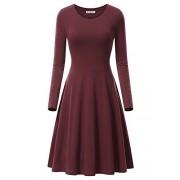 KIRA Women's Long Sleeve Scoop Neck Casual Flared Aline Midi Dress - Dresses - $18.99