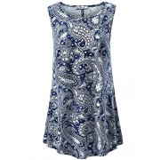 KIRA Women's Sleeveless Flowy Shirt Swing Tunic Summer Loose Flare Tank Top - Shirts - $12.99