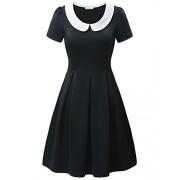 KIRA Women's Vintage Short Sleeve Peter Pan Collar Slim Fit Casual Flare Dress - Dresses - $20.99