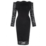 Kate Kasin Womens Off Shoulder Floral Lace Bodycon Pencil Dress - Платья - $13.99  ~ 12.02€
