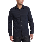 Kenneth Cole Men's Grossgrain Trim Stripe Woven Shirt Black Combo - 長袖シャツ・ブラウス - $89.50  ~ ¥10,073