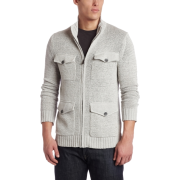 Kenneth Cole Men's Zipfront Cardigan Beige - Puloverji - $59.99  ~ 51.52€