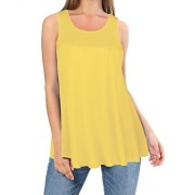 Kilig Summer Sleeveless Round Neck Tunic Top Loose Casual Shirt(Yellow, XXL) - Accessories - $11.99