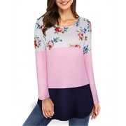 Kilig Women's Casual Floral Print Color Block Tops Long Sleeve T-shirts Blouses  - Shirts - $38.51