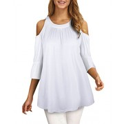 Kilig Women's Casual O-Neck 3/4 Sleeves Cut Out Cold Shoulder Tunic Top Shirt  - Shirts - $32.00
