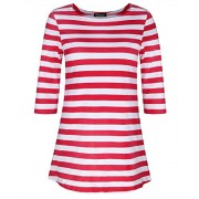 Kilig Women's Half Sleeves Casual Striped Contrast Color Tee Shirt  - Shirts - $40.00