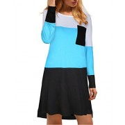 Kilig Women's Long Sleeve Color Block Pocket Loose Casual Dress  - Vestidos - $56.88  ~ 48.85€