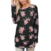 Kilig Women's Long Sleeve Round Neck Floral Printed Blouse Casual Tops T Shirt  - Shirts - $34.99