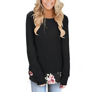 Kilig Women's Long Sleeve T-Shirt Round Neck Casual Floral Print Hem Tops and Blouse  - Shirts - $46.00