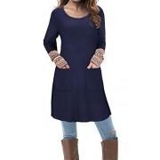 Kilig Women's Round Neck Long Sleeve Boho Patchwork Dress With Pockets  - Haljine - $46.00  ~ 39.51€