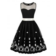 Killreal Women's 1950's Elegant Vintage Retro Sleeveless Lace Crochet Printed Dress with Belt - Dresses - $27.99