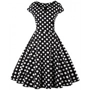 Killreal Women's 1950's Vintage Casual Polka Dot Cocktail Holiday Party Dress - Dresses - $12.79