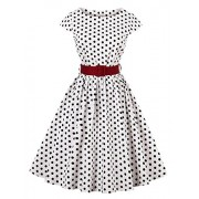 Killreal Women's Cap-Sleeve Vintage 1950 Retro Rockabilly Prom Dresses with Blet - Dresses - $15.99