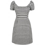 Killreal Women's Casual Fit and Flare Short Sleeve Plaid Print Wear to Work Dresses - Dresses - $12.05