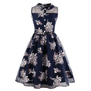 Killreal Women's Casual Floral Fit and Flare Sleeveless Belted Vintage Tea Dress - Dresses - $18.89