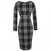 Killreal Women's Casual Long Sleeve Striped Work Office Business Pencil Dress - Dresses - $16.99