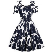 Killreal Women's Casual Summer Floral Midi Swing Vintage Tea Dress with Belt - Dresses - $14.99