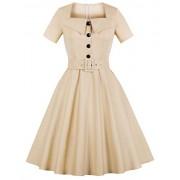 Killreal Women's Casual Summer Short Sleeve Belted Vintage Cocktail Midi Dress - Haljine - $14.99  ~ 95,23kn