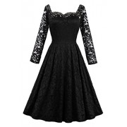 Killreal Women's Elegant Long Sleeved Formal Cocktail Party Floral Lace Dress - Dresses - $16.79