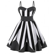 Killreal Women's Retro Harness Striped Polka Dot Holiday Beach High Waist Dress - Dresses - $16.09