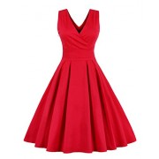Killreal Women's Vintage 1950s Style Casual Cocktail Dress Christmas Holiday - Dresses - $17.99