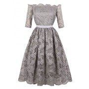 Killreal Women's Vintage Off The Shoulder Half Sleeve Lace Cocktail Party Dress - Dresses - $15.99