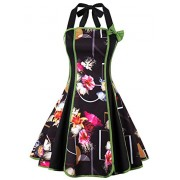 Killreal Women's Vintage Rockabilly Halter Floral Print Holiday Mini Dress - Dresses - $16.99