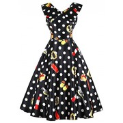 Killreal Women's Vintage Sleeveless Polka Dot Print Cocktail Party Dress - Dresses - $14.99