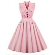 607ad490663 Killreal Women s Vintage Sleeveless V Neck Swing Retro Cocktail Party Dress  - Dresses -  15.00
