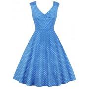 Killreal Women's Vintage V Neck Sleeveless Polka Dot Print Cocktail Party Dress - Haljine - $16.69  ~ 106,02kn