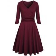 Kimmery Women's Cross V Neck 3/4 Sleeve Fit Flare Empire Waist Dress - Dresses - $28.99