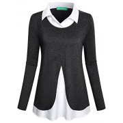 Kimmery Women's Long Sleeve Collared Patchwork 2 in 1 Layered Top Blouse - Shirts - $28.99