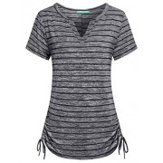 Kimmery Womens Notch V Neck Short Sleeve Loose Fit Drawstring Side Striped Shirts - Shirts - $23.99