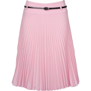 Knee Length Pleated A-Line Skirt with Skinny Belt (Choose from 10 Colors ) - Clearance Sale ! Baby Pink - Skirts - $25.00