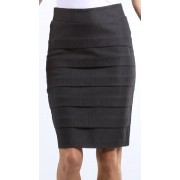 Knee Length Tiered Sleek Stretch Skirt ( Choose Black, Charcoal or Brown ) Black - Skirts - $19.99