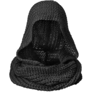Knit Grey Hooded Scarf Hoodie Scarf - Scarf -