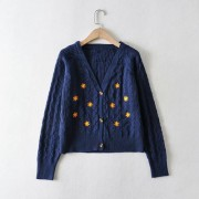 Knit coat flower embroidery loose single-breasted sweater cardigan - Shirts - $29.99
