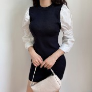 Knit stitching long sleeve temperament d - Shirts - $27.99