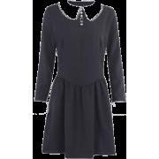 Knitted nun black dress doll collar palace temperament mid-skirt lady dress - Kleider - $27.99  ~ 24.04€
