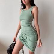 Knitted sleeveless drawstring design dress slim slim simple knitted dress - ワンピース・ドレス - $32.99  ~ ¥3,713